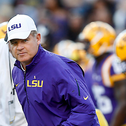 Oct 26, 2013; Baton Rouge, LA, USA; LSU Tigers head coach Les Miles prior to a game against the Furman Paladins at Tiger Stadium. Mandatory Credit: Derick E. Hingle-USA TODAY Sports