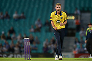 Oliver Hannon-Dalby of Birmingham Bears celebrates the wicket of Sam Curran during the NatWest T20 Blast South Group match between Surrey County Cricket Club and Warwickshire County Cricket Club at the Kia Oval, Kennington, United Kingdom on 25 August 2017. Photo by Dave Vokes.