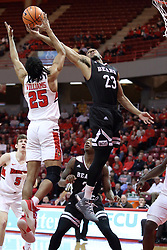 07 January 2018:  Madison Williams and J.T. Miller look for possession of a rebound during a College mens basketball game between the Missouri State Bears and Illinois State Redbirds in Redbird Arena, Normal IL