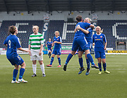 Forfar Farmington captain Nicola Irenside is congratulated after her equalising goal by Cheryl Kilcoyne - Celtic v Forfar Farmington in the SWPL Cup semi final at Falkirk, Falkirk Stadium,<br /> <br />  - &copy; David Young - www.davidyoungphoto.co.uk - email: davidyoungphoto@gmail.com