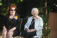 Virginia Mounger Wilson (left) and Martha Lyles Wilson at the dedication of the LQC Lamar statue at the LQC Lamar House in Oxford, Miss. on Saturday, October 9, 2010.
