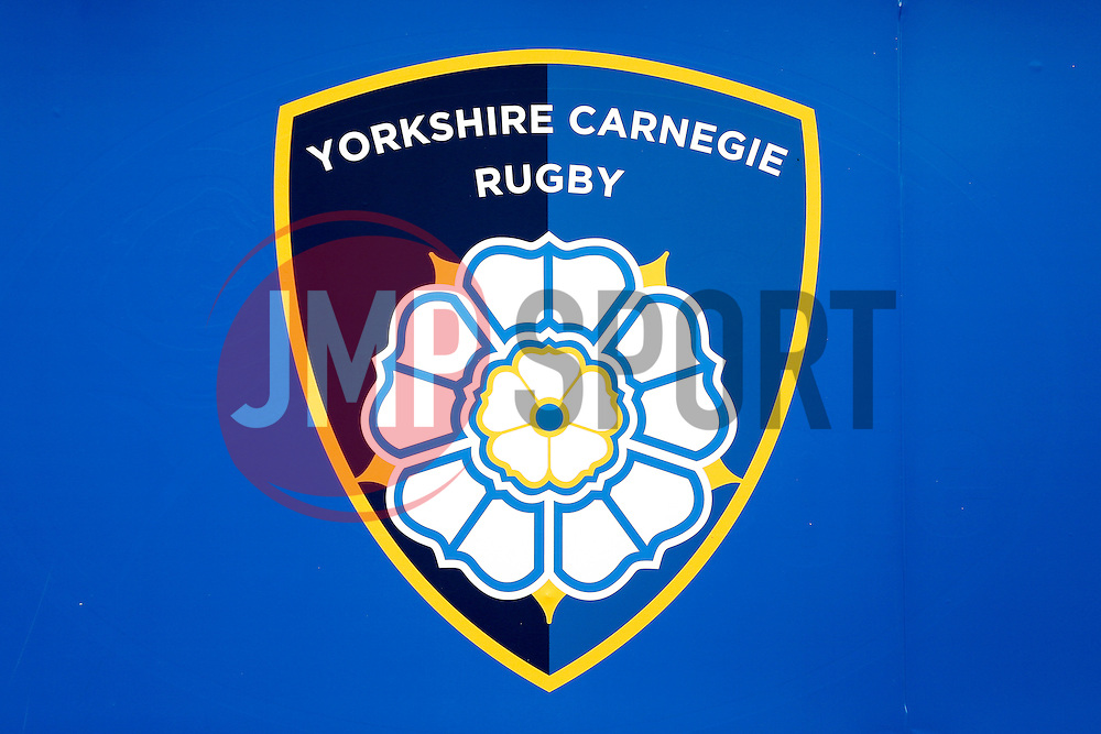 The newly rebranded  Yorkshire Carnegie crest - Photo mandatory by-line: Rogan Thomson/JMP - 07966 386802 - 14/09/2014 - SPORT - RUGBY UNION - Leeds, England - Headingley Carnegie Stadium - Yorkshire Carnegie v Bristol Rugby - Greene King IPA Championship.