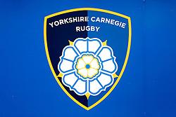 The newly rebranded  Yorkshire Carnegie crest - Photo mandatory by-line: Rogan Thomson/JMP - 07966 386802 - 14/09/2014 - SPORT - RUGBY UNION - Leeds, England - Headingley Carnegie Stadium - Yorkshire Carnegie v Bristol Rugby - Greene King IPA Championship.