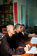 Young buddhist monks during a class, Hue, Vietnam, Southeast Asia