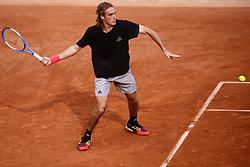 May 23, 2019 - Paris, France - Stefanos Tsitsipas of Greece during a training session preparing for Roland Garros finals in Paris, France, on 23 May 2019. (Credit Image: © Ibrahim Ezzat/NurPhoto via ZUMA Press)