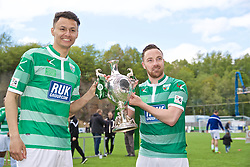 RHOSYMEDRE, WALES - Sunday, May 5, 2019: The New Saints Dean Ebbe (L) and Jon Routledge celebrate with the trophy after the FAW JD Welsh Cup Final between Connah's Quay Nomads and The New Saints at The Rock. The New Saints won 3-0. (Pic by David Rawcliffe/Propaganda)