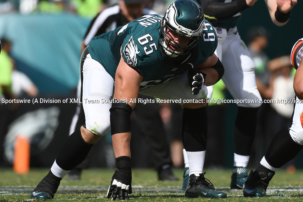 September 11, 2016: Philadelphia Eagles Offensive Tackle Lane Johnson (65) [18628] during a National  Football League game between the Cleveland Browns and the Philadelphia Eagles at Lincoln Financial Field in Philadelphia, PA. (Photo by Andy Lewis/Icon Sportswire)