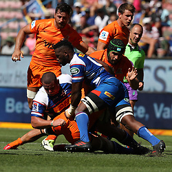 Siya Kolisi (captain) of the DHL Stormers making a tackle during the Super Rugby match between the DHL Stormers and the Jaguares at the DHL Newlands Stadium Cape Town South Africa. 17,February 2018 (Photo by Steve Haag/UAR)