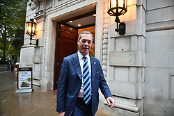© Licensed to London News Pictures. 25/09/2019. London, UK. NIGEL FARAGE is seen in Westminster after The Supreme Court in London yesterday ruled that Parliament had been suspended illegally. British Prime Minster Boris Johnson prorogued parliament just weeks before the UK is due to leave the EU on October 31st. Photo credit: Ben Cawthra/LNP