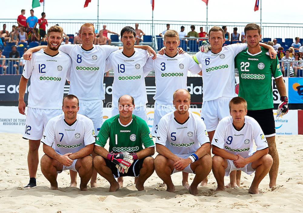 TORREDEMBARRA, SPAIN - AUGUST 14: Euro Beach Soccer League Superfinal Torredembarra 2014 at Playa de La Paella on August 14, 2014 in Torredembarra, Spain. (Photo by Manuel Queimadelos)