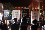 9 September 2010- New York, NY-Silent Protest against Essence Magazines' hiring of White Fashion Editor Elliana Placas at the 2010 Mercedes-Benz Fashion Week held at the Lincoln Center's Damrosch Park, the new home for Fashion Week on September 9, 2010 in New York City.
