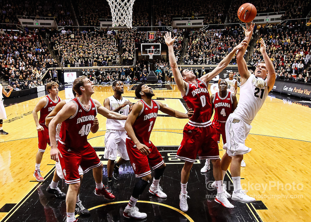 WEST LAFAYETTE, IN - JANUARY 30: D.J. Byrd #21 of the Purdue Boilermakers shoots the ball against the Indiana Hoosiers at Mackey Arena on January 30, 2013 in West Lafayette, Indiana. Indiana defeated Purdue 97-60. (Photo by Michael Hickey/Getty Images) *** Local Caption *** Name; Name