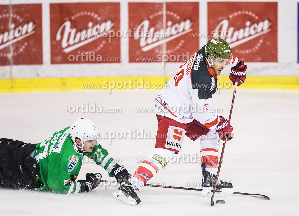 Mark Cepon (HDD Olimpija), Anton Bernard (Bolzano) during ice hockey match between HDD Olimpija and HCB Südtirol Alperia Bolzano in Round #14 of EBEL League 2016/17, on October 23, 2016 in Tivoli Hall, Ljubljana, Slovenia. Photo by Vid Ponikvar / Sportida
