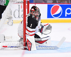 Eric Comrie of the Tri-City Americnas represented Team Canada at the 2015 World Junior Championships on Saturday Dec. 28 vs. Germany at the Bell Centre in Montreal. Canada won the game 4-0. Photo by Aaron Bell/CHL Images
