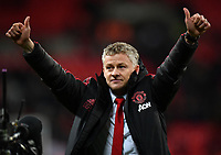 Football - 2018 / 2019 Premier League - Tottenham Hotspur vs. Manchester United<br /> <br /> Manchester United caretaker manager Ole Gunnar Solskjaer celebrates at the final whistle after their 1-0 victory, at Wembley Stadium.<br /> <br /> COLORSPORT/ASHLEY WESTERN