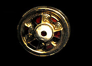jewelled disc brooch in gilt, silver and garnet. Found Chatham Lines, Kent, England. Celtic