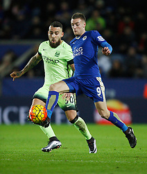 Nicolas Otamendi of Manchester City (L) and Jamie Vardy of Leicester City in action  - Mandatory byline: Jack Phillips/JMP - 07966386802 - 29/12/2015 - SPORT - FOOTBALL - Leicester - King Power Stadium - Leicester City v Manchester City - Barclays Premier League