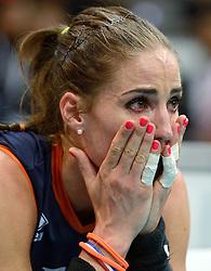 03-10-2015 NED: Volleyball European Championship Semi Final Nederland - Turkije, Rotterdam<br /> Nederland verslaat Turkije in de halve finale met ruime cijfers 3-0 / Myrthe Schoot #9 kan het niet geloven dat ze in de finale staat