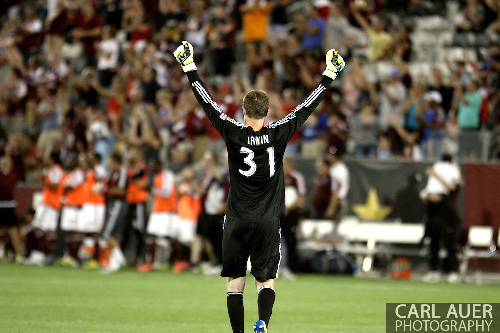 July 4th, 2013 - Colorado Rapids goalkeeper Clint Irwin (31) celebrates the Rapids first goal in second half action of the Major League Soccer match between New York Red Bulls and the Colorado Rapids at Dick's Sporting Goods Park in Commerce City, CO