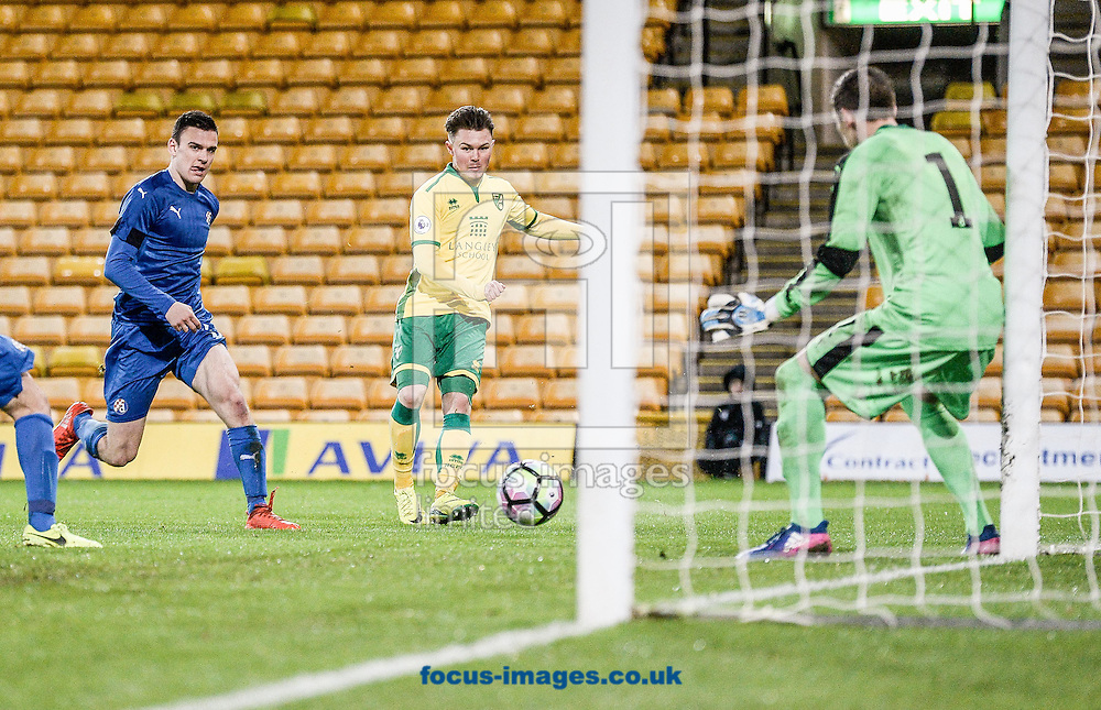 Glenn Middleton of Norwich City U23 scores his goal v Dinamo Zagreb U23 during the Premier League International Cup Quarter-Final match at Carrow Road, Norwich<br /> Picture by Matthew Usher/Focus Images Ltd +44 7902 242054<br /> 27/02/2017