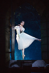 © Licensed to London News Pictures. 04/08/2015. London, UK. Yanela Pinera as The Sylphide. Dress rehearsal of La Sylphide (some parts in partial costume). Australia's Queensland Ballet makes its London Coliseum debut with La Sylphide, the August Bournonville ballet is choreographed by Peter Schaufuss. Performances at the Coliseum from 5 to 8 August 2015. Photo credit: Bettina Strenske/LNP