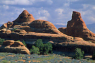 Cumulus clouds over sandstone formations, from the Devils Garden Trail Arches National Park, UTAH