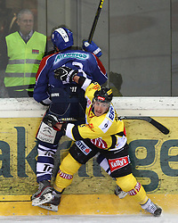 13.02.2013, Albert Schultz Eishalle, Wien, AUT, EBEL, UPC Vienna Capitals vs KHL Medvescak Zagreb, 6. Platzierungsrunde, im Bild Dennis Bozic, (KHL Medvescak Zagreb, #13) und Rafael Rotter, (UPC Vienna Capitals, #6)  // during the Erste Bank Icehockey League 6th placement Round match betweeen UPC Vienna Capitals and KHL Medvescak Zagreb at the Albert Schultz Ice Arena, Vienna, Austria on 2013/02/13. EXPA Pictures © 2013, PhotoCredit: EXPA/ Thomas Haumer