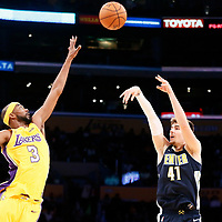 02 October 2017: Denver Nuggets forward Juan Hernangomez (41) takes a jump shot over Los Angeles Lakers guard Corey Brewer (3) during the Denver Nuggets 113-107 victory over the LA Lakers, at the Staples Center, Los Angeles, California, USA.