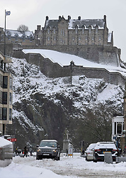 Pictured: North Castle Street in Edinburgh city centre was passable only with 4x4 vehicles on Thursday morning.<br /> <br /> The severe winter weather continued to cause chaos throughout Scotland, with the most severe level of Amber warning being extended until 10am on Friday 02 March.<br /> <br /> © Dave Johnston / EEm