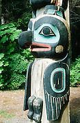 Alaska. Sitka  Nat'l Historical Park. RA Gaanaxadi / Raven Crest Pole, Raven, replica.