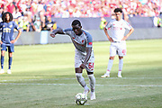 Liverpool Sheyi Ojo shoots from the penalty spot and scores a goal 1-4 during the Manchester United and Liverpool International Champions Cup match at the Michigan Stadium, Ann Arbor, United States on 28 July 2018.