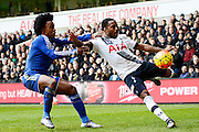 Tottenham Hotspur defender Danny Rose about to cross watched by Chelsea midfielder Willian during the Barclays Premier League match between Tottenham Hotspur and Chelsea at White Hart Lane, London, England on 29 November 2015. Photo by Alan Franklin.