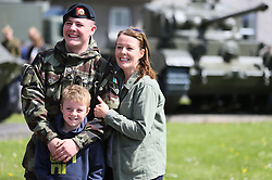 Private Daniel Bradley with his mother Kerry Dolan and brother Jay Dolan, 8, at Custume Barracks, Athlone, following a review of the 110th Infantry Battalion ahead of their six-month deployment to South Lebanon as part of United Nations Interim Force in Lebanon (Unifil).