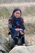 Hilltribe villages around Sapa. Black Hmong girl.