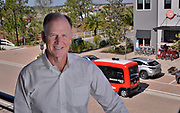 Syd Kitson, the founder was a former NFL football player turned property developer. The red vehicle in the background is a driverless autonomous shuttle which ferries people around the town.<br /> <br /> Babcock Ranch is America's first solar powered eco-town. 170 miles NW of Miami, near Fort Myers it is estimated to grow to  population of 50,000 people. Like a small town it will have its own schools offices and medical facilities as well as shops and restaurants.