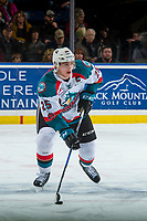 KELOWNA, CANADA - MARCH 3: Cal Foote #25 of the Kelowna Rockets skates with the puck against the Spokane Chiefs  on March 3, 2018 at Prospera Place in Kelowna, British Columbia, Canada.  (Photo by Marissa Baecker/Shoot the Breeze)  *** Local Caption ***
