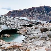 Tourists trek on the Viedma Glacier in Los Glacieres National Park near El Chalten, Argentina.