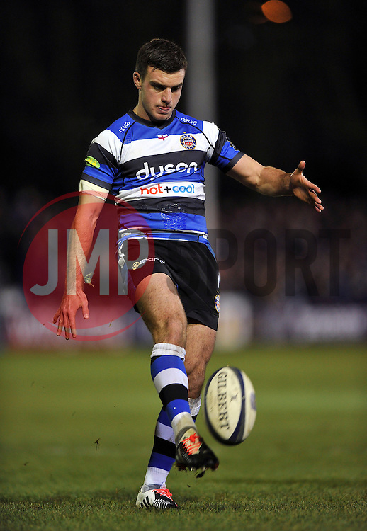 George Ford of Bath Rugby kicks for touch - Photo mandatory by-line: Patrick Khachfe/JMP - Mobile: 07966 386802 12/12/2014 - SPORT - RUGBY UNION - Bath - The Recreation Ground - Bath Rugby v Montpellier - European Rugby Champions Cup