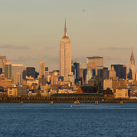 Manhattan New York City skyline at sunset