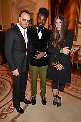 Left to right, TOM FORD,ROY LUWOLT and ELIZABETH SALTZMAN at a party hosed by the US Ambassador to the UK Matthew Barzun, his wife Brooke Barzun and editor of UK Vogue Alexandra Shulman in association with J Crew to celebrate London Fashion Week held at Winfield House, Regent's Park, London on 16th September 2014.