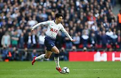 Son Heung-Min of Tottenham Hotspur on the ball - Mandatory by-line: Arron Gent/JMP - 02/03/2019 - FOOTBALL - Wembley Stadium - London, England - Tottenham Hotspur v Arsenal - Premier League