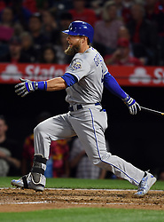 June 6, 2018 - Anaheim, CA, U.S. - ANAHEIM, CA - JUNE 06: Kansas City Royals left fielder Alex Gordon (4) hits a single and drives in a run in the fourth inning of a game against the Los Angeles Angels of Anaheim played on June 6, 2018 at Angel Stadium of Anaheim in Anaheim, CA. (Photo by John Cordes/Icon Sportswire) (Credit Image: © John Cordes/Icon SMI via ZUMA Press)