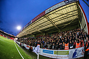 Forest Green Rovers supporters during the EFL Sky Bet League 2 match between Cheltenham Town and Forest Green Rovers at Jonny Rocks Stadium, Cheltenham, England on 2 November 2019.