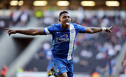 Peterborough United's Britt Assombalonga celebrates scoring - Photo mandatory by-line: Joe Dent/JMP - Mobile: 07966 386802 15/03/2014 - SPORT - FOOTBALL - Milton Keynes - Stadium MK - MK Dons v Peterborough United - Sky Bet League One