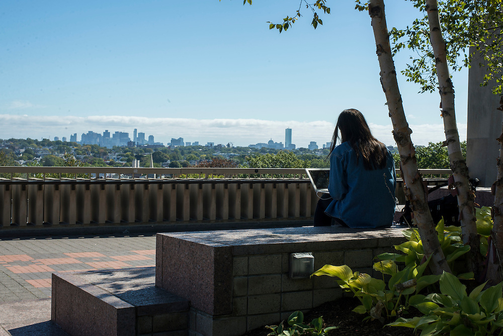 10/5/2016 - Medford/Somerville - Students study on Tisch Roof overlooking the Boston skyline on Tufts' main campus in Medford/Somerville on Oct 5, 2016. (Ray Bernoff / The Tufts Daily)