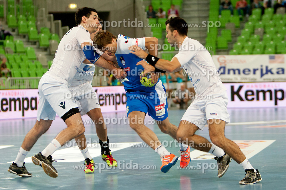 Marko Bezjak of Slovenia at handball match between National teams of Slovenia and Portugal of Qualifications for World Cup 2013, on June 9, 2012 in Arena Stozice, Ljubljana, Slovenia. (Photo By Urban Urbanc / Sportida.com)