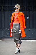 Orange Coat and Balenciaga Heels, Outside Dries Van Noten