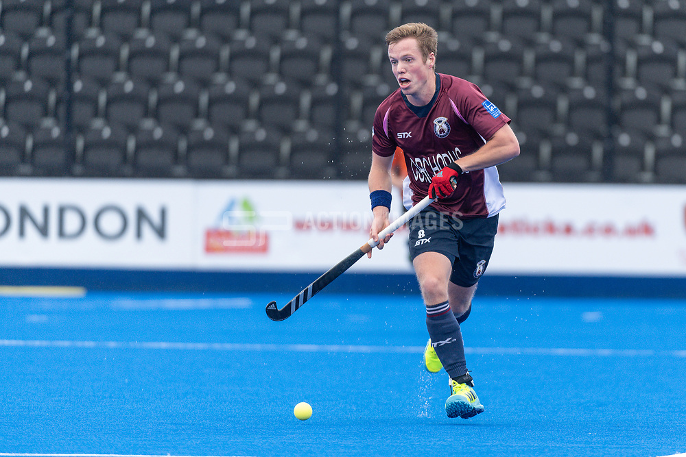 Wimbledon's Ian Sloan. Wimbledon v Hampstead & Westminster - Men's Hockey League Finals, Lee Valley Hockey & Tennis Centre, London, UK on 28 April 2018. Photo: Simon Parker