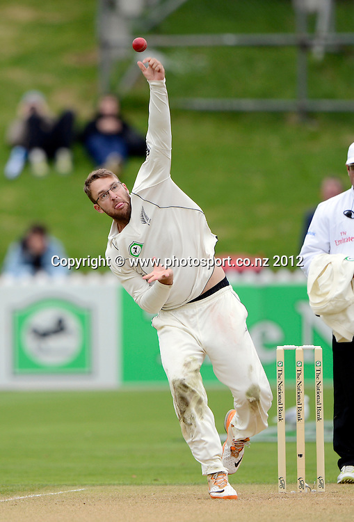 Daniel Vettori bowling. Test match cricket. Third Test, Day 2. New Zealand Black Caps versus South Africa Proteas, Basin Reserve, Wellington, New Zealand. Saturday 24 March 2012. Photo: Andrew Cornaga/Photosport.co.nz