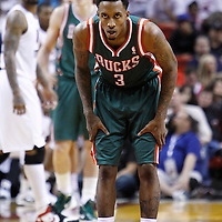22 January 2012: Milwaukee Bucks point guard Brandon Jennings (3) is seen on defense during the Milwaukee Bucks 91-82 victory over the Miami Heat at the AmericanAirlines Arena, Miami, Florida, USA.
